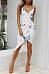 Spaghetti Strap  Asymmetric Hem  Floral Printed  Sleeveless Bodycon Dresses