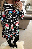 Round Neck  Printed  Long Sleeve Christmas Casual Dresses