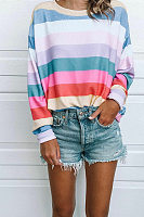 Round Neck Long Sleeve Multi-Color Stripes Printed T-Shits