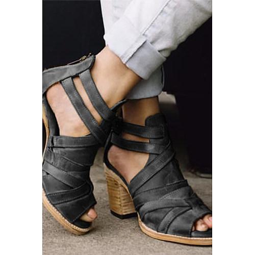 Plain  Chunky  High Heeled  Peep Toe  Date Travel Platform Sandals