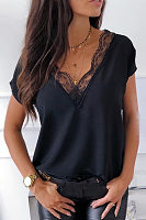 Fashion Chiffon V-Neck Lace   T-Shirt Top