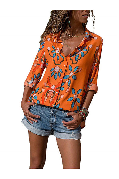 Printed Long Sleeve Lapel Fashion Casual Ladies Shirt