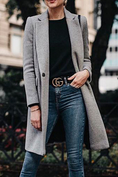 Fold Over Collar  Single Button  Plain Outerwear