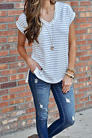 V Neck  Slit  Striped T-Shirts
