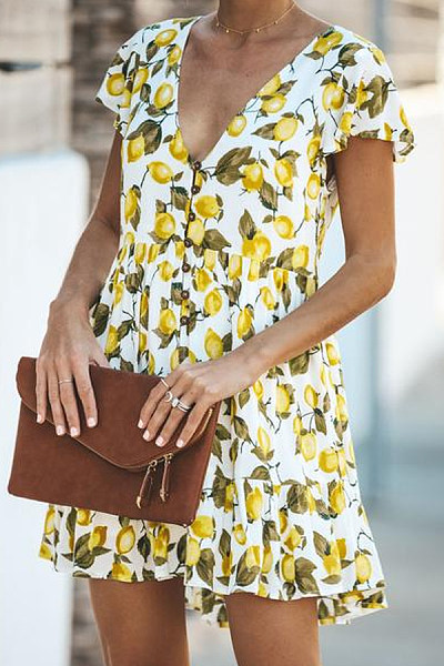 Small Floral V-Neck Sexy Mini   Dress
