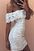 Off Shoulder  Flounce  Hollow Out Plain  Short Sleeve Bodycon Dresses