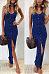 Spaghetti Strap  Single Breasted Slit  Plain  Sleeveless Maxi Dresses