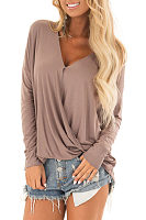 V Neck Pleated Long Sleeve Plain T-Shirts