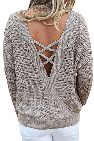 Round Neck  Backless  Plain Sweaters