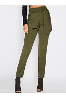 Plain Tie-Side Slim-Leg Casual Pants