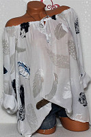 Open Shoulder  Lace Up Loose Fitting  Feather Blouses