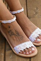 Lace Plain  Flat  Ankle Strap  Peep Toe  Date Travel Flat Sandals