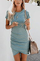 Crew Neck  Asymmetric Hem  Plain  Short Sleeve Bodycon Dresses