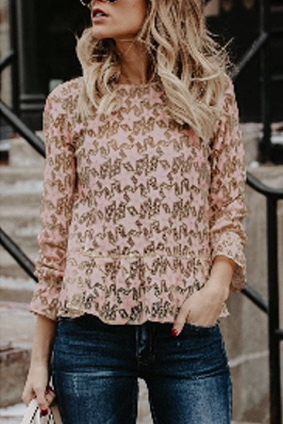 Crew Neck  Plain Casual  Blouses