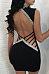 Deep V Neck  Backless Contrast Trim Bodycon Dresses