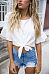 Round Neck  Exposed Navel  Plain  Bell Sleeve  Blouses