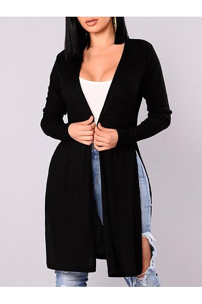 Collarless Side-Vented Plain Longline Cardigan