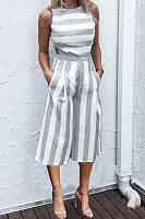 Round Neck  Cutout  Striped  Sleeveless Jumpsuits