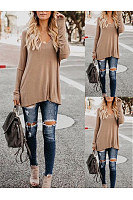 V-Neck  Cutout Lightweight  Curved Hem  Plain Long Sleeve T-Shirts