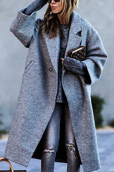 Fashion Solid Color Lapel Woollen Coat