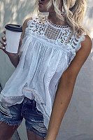 Decorative Lace Patchwork  Lace Plain  Blouses