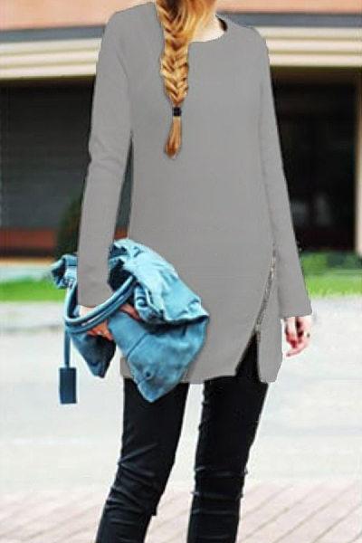 Round Neck Diagonal Zipper Solid Color T-Shirt
