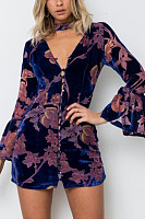 Deep V Neck  Single Breasted  Print  Bell Sleeve  Three Quarter Sleeve Bodycon Dresses