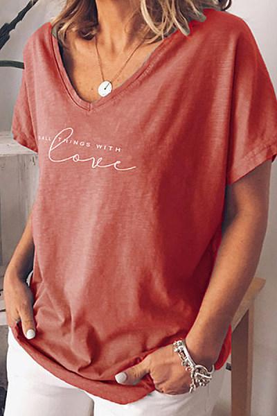 Casual V Neck Short Sleeve Letter T-Shirt