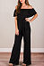 Off Shoulder  Belt  Plain  Short Sleeve Jumpsuits