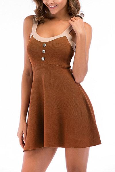 Spaghetti Strap  Decorative Buttons  Plain  Sleeveless Skater Dresses