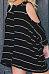 Round Neck  Asymmetric Hem  Striped  Batwing Sleeve T-Shirts