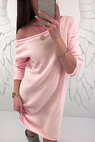 Open Shoulder  Backless  Plain  Long Sleeve Casual Dresses