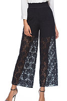 Decorative Lace  Plain Basic  Pants