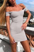 Off Shoulder  Backless  Plain  Short Sleeve Bodycon Dresses