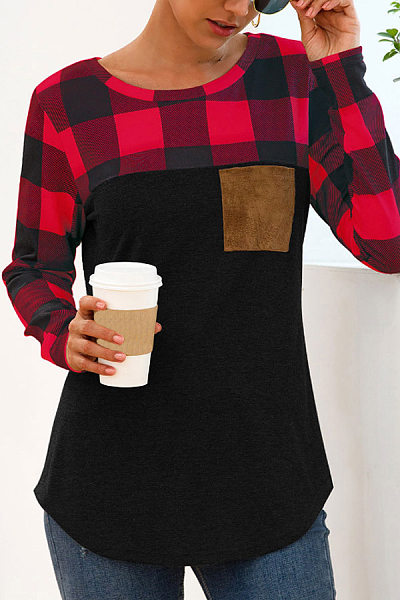 Casual Round Neck Plaid Stitching Long Sleeve Pocket T-Shirt
