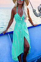 Halter  Asymmetric Hem  Belt  Striped  Sleeveless Maxi Dresses