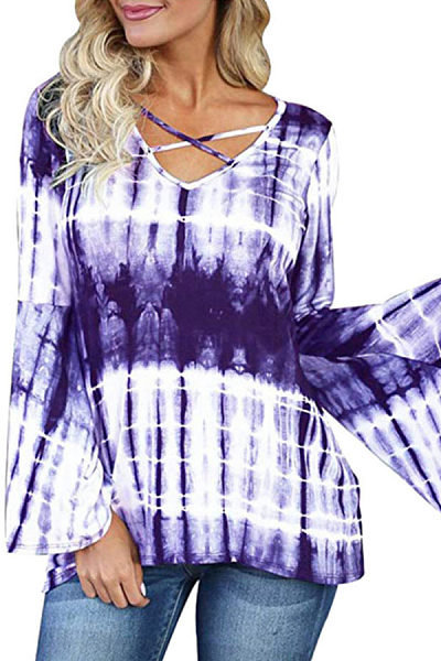 V Neck  Tie Dye  Bell Sleeve T-Shirts