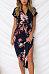 V Neck  Asymmetric Hem  Belt  Printed  Short Sleeve Maxi Dresses