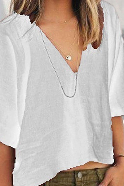Solid Color Casual Loose Cotton   V-Neck Short-Sleeved T-Shirt Top