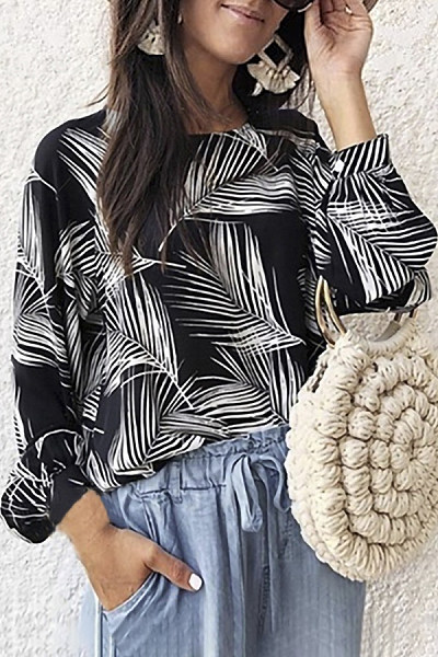 Fashion Round Collar Printed Colour Long Sleeve Blouse