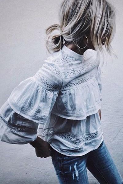 Round Neck  Decorative Lace Patchwork  Lace Plain Blouses