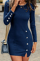 Round Neck  Decorative Buttons  Plain  Long Sleeve Bodycon Dresses