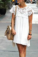 Casual V-Neck Lace Patchwork Short-Sleeved Dress