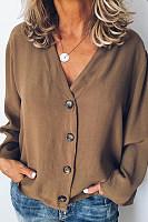 V Neck  Single Breasted  Plain  Blouses
