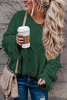 Round Neck  Fringe  Plain Sweaters