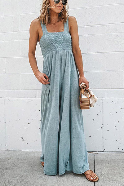 Classy Solid Color Sleeveless Halter Jumpsuits