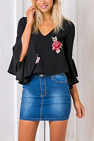 V Neck  Embroidery  Bell Sleeve  Blouses