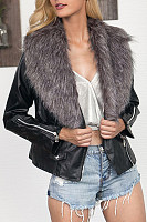 Faux Fur Collar  Zipper  Plain Jackets