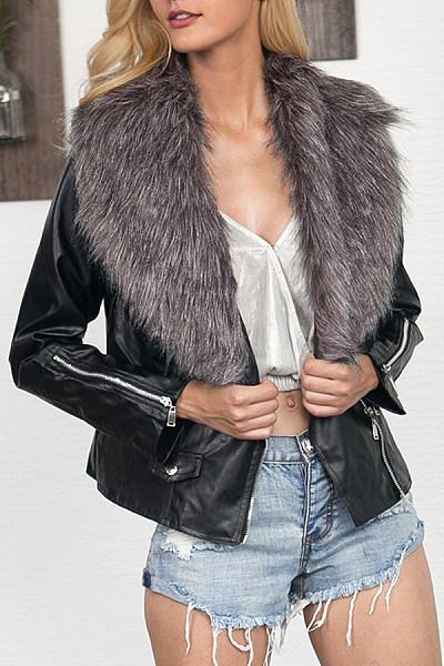 Faux Fur Collar  Zipper  Plain Jackets