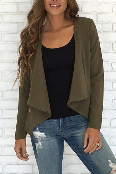 Cotton Autumn Basic Plain Jackets